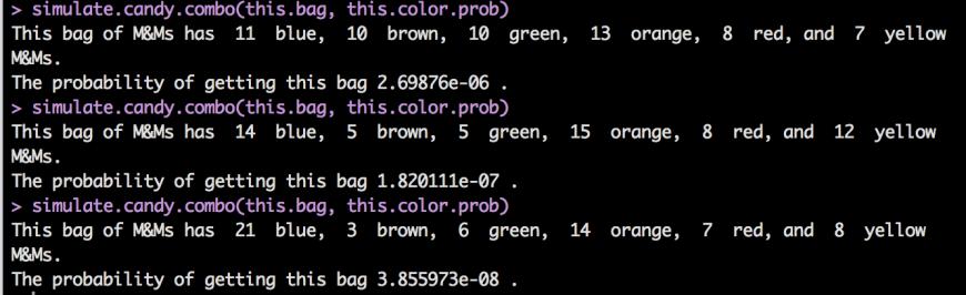 3 randomly generated bags of M&Ms